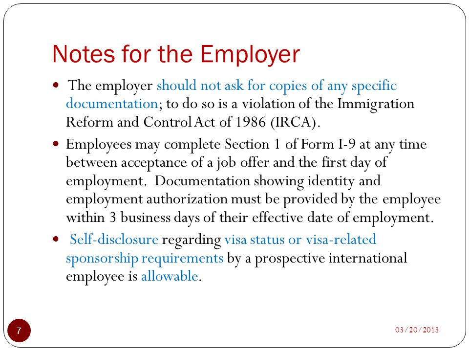 Notes for the Employer