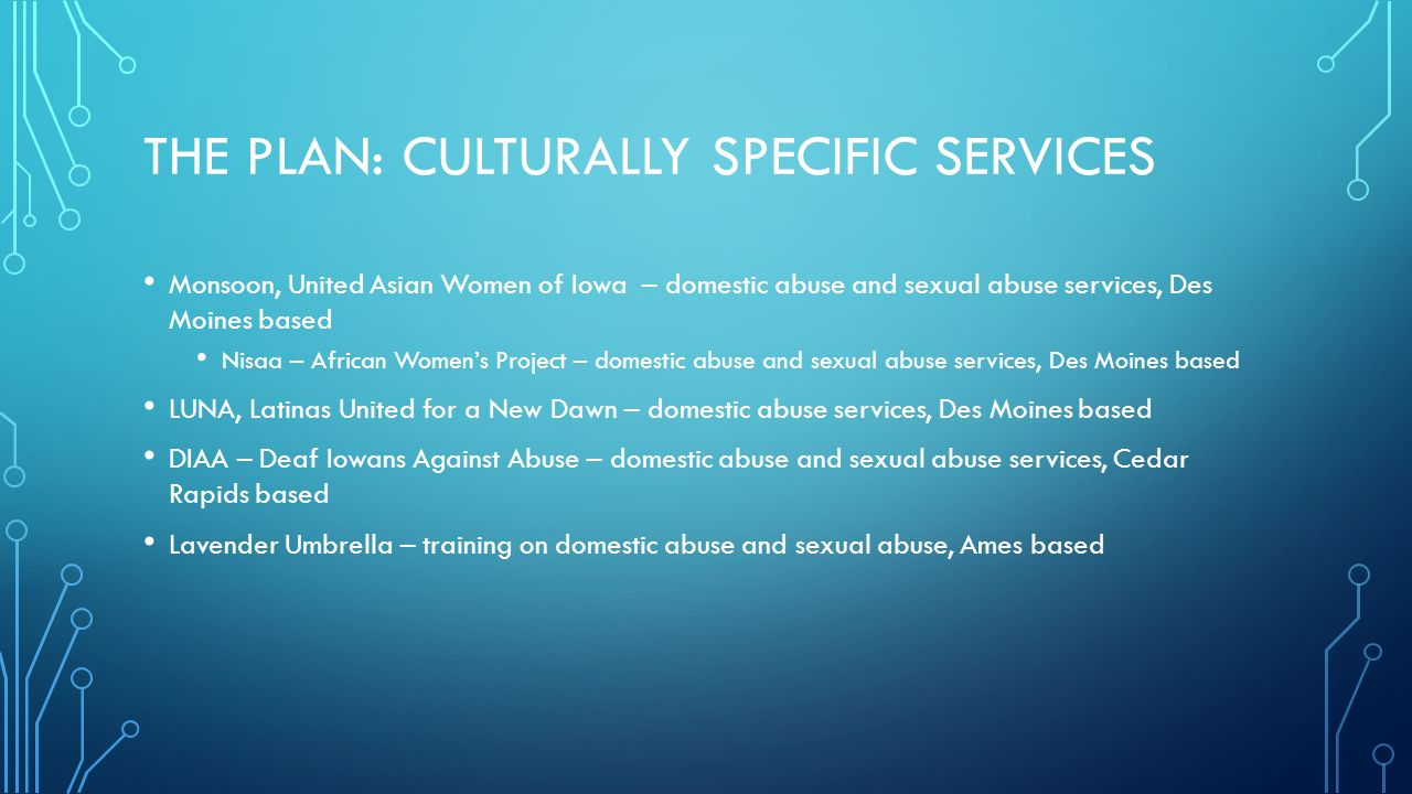 The Plan: Culturally specific services