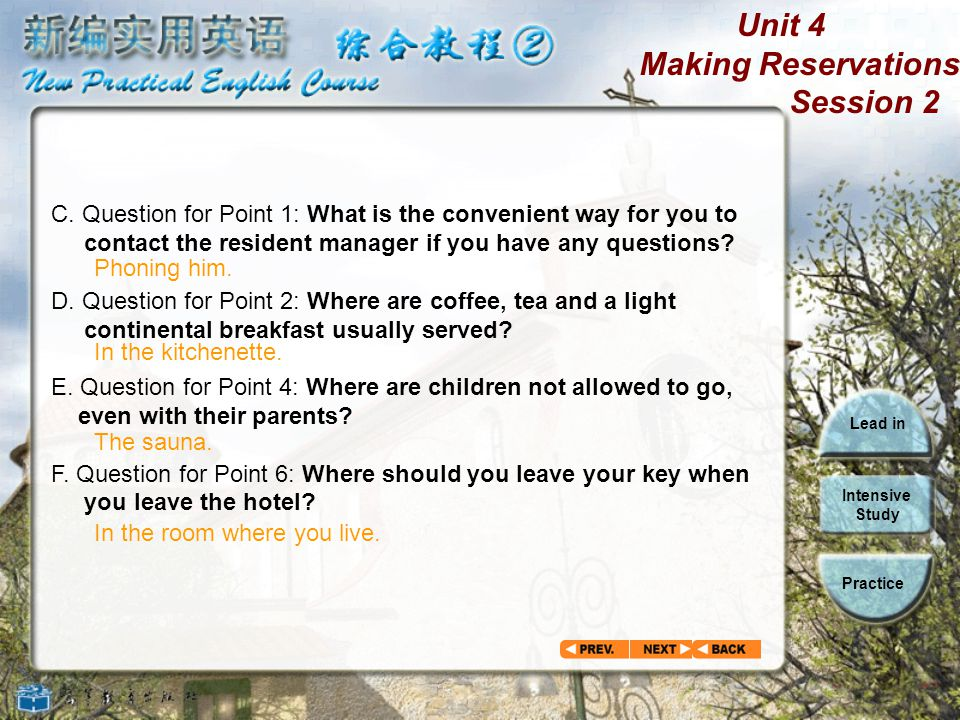 C. Question for Point 1: What is the convenient way for you to