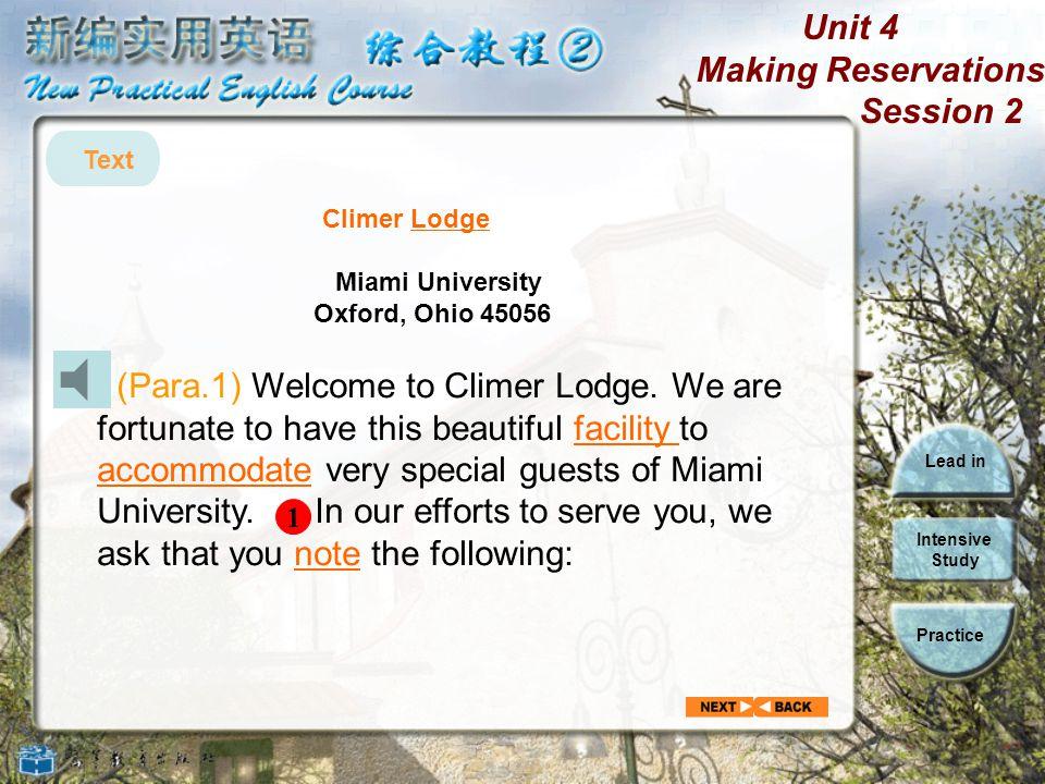 Text Climer Lodge. Miami University. Oxford, Ohio 45056.