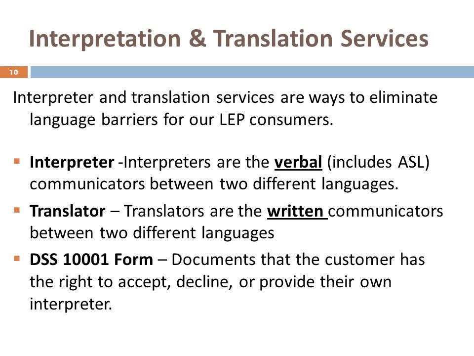 Interpretation & Translation Services