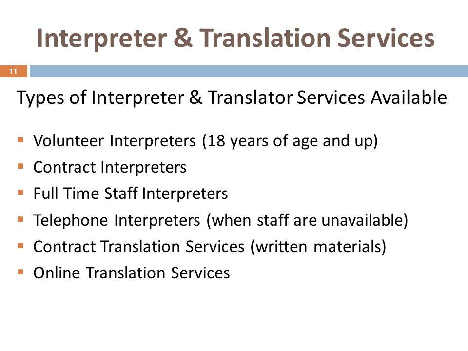 Interpreter & Translation Services