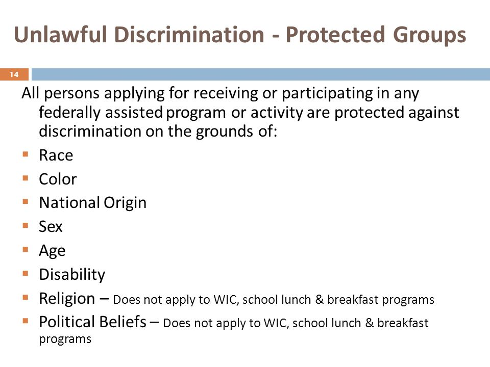 Unlawful Discrimination - Protected Groups
