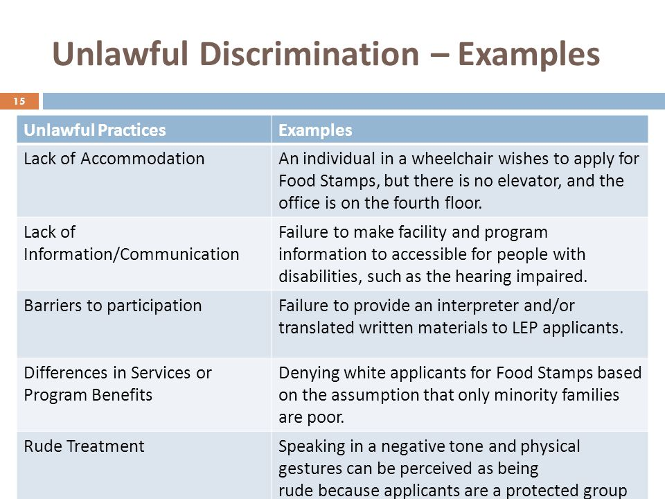 Unlawful Discrimination – Examples