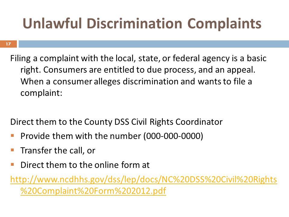 Unlawful Discrimination Complaints