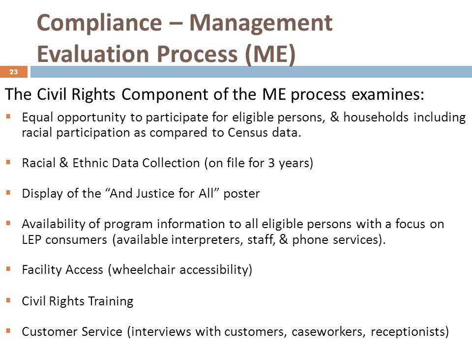 Compliance – Management Evaluation Process (ME)