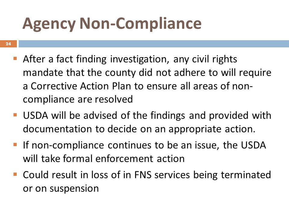 Agency Non-Compliance