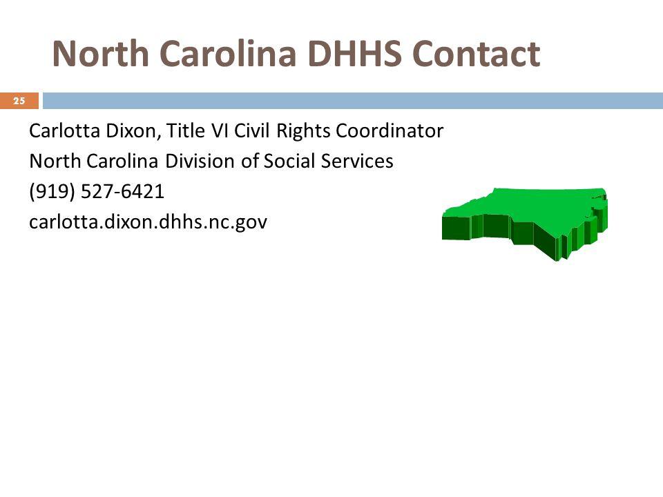 North Carolina DHHS Contact