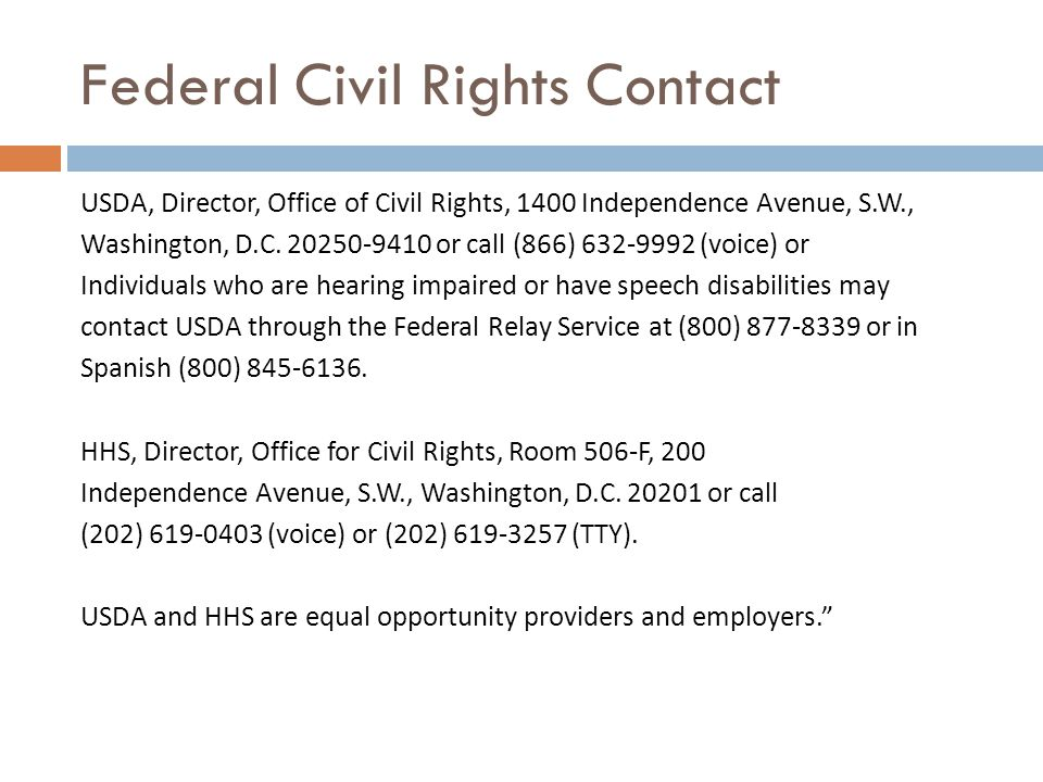 Federal Civil Rights Contact