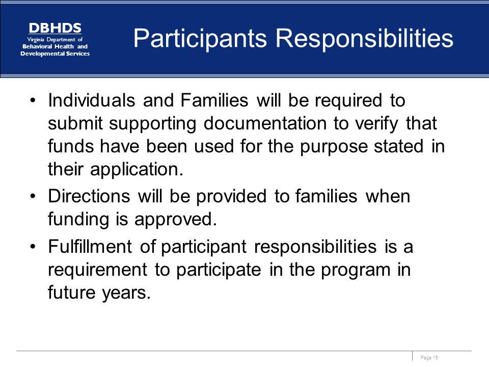 Participants Responsibilities