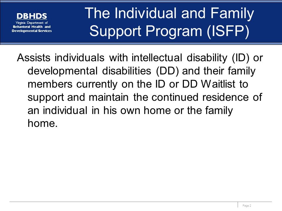 The Individual and Family Support Program (ISFP)