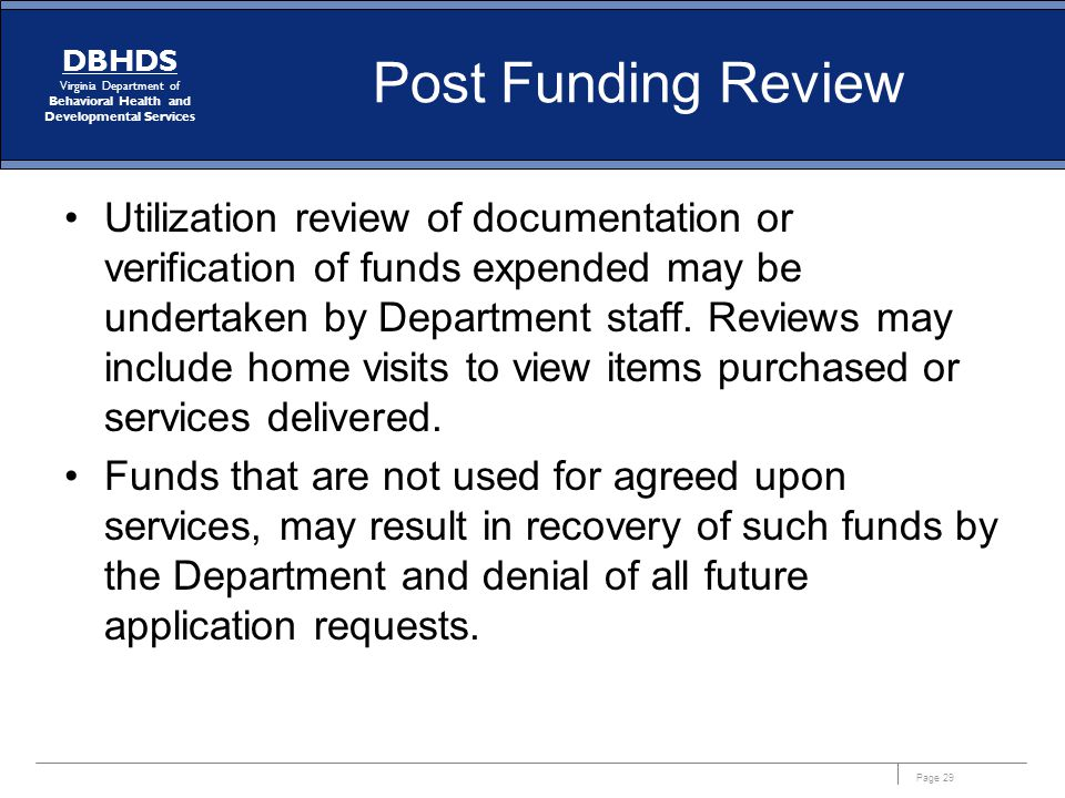 Post Funding Review