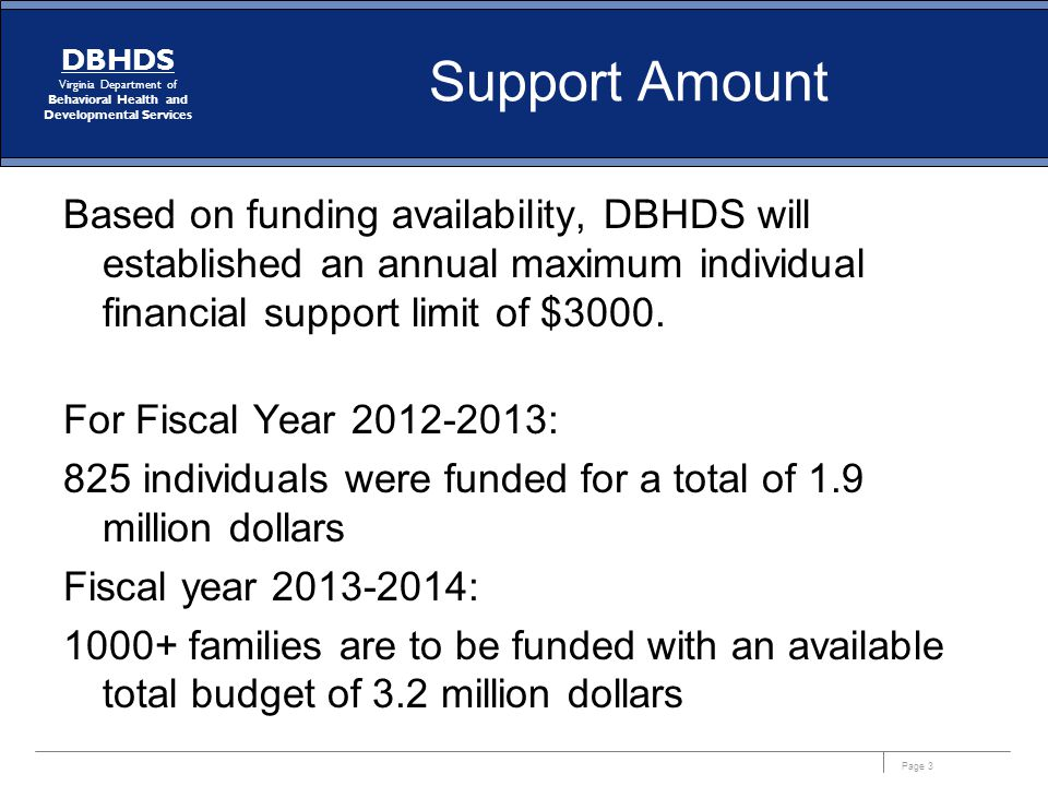 Support Amount Based on funding availability, DBHDS will established an annual maximum individual financial support limit of $3000.
