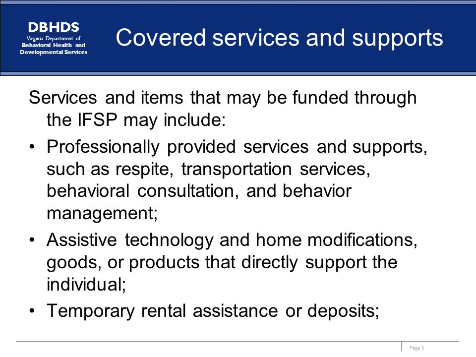 Covered services and supports