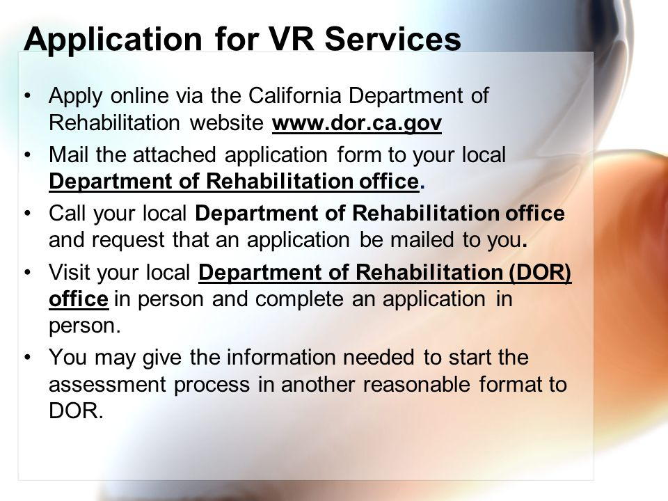 Application for VR Services