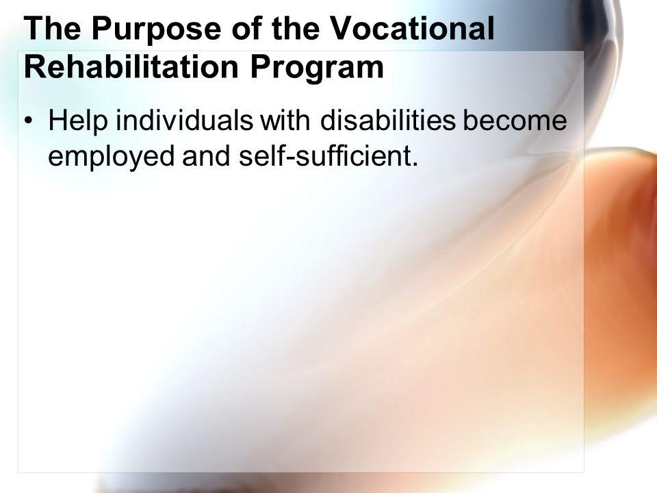 The Purpose of the Vocational Rehabilitation Program