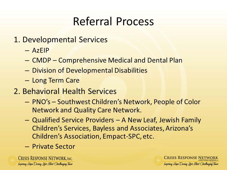 Referral Process 1. Developmental Services