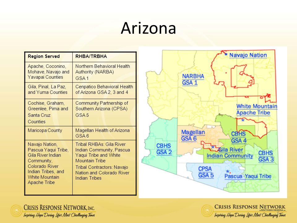 Arizona Region Served RHBA/TRBHA