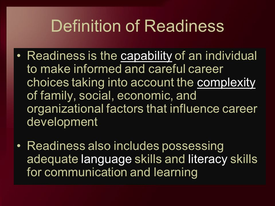 Definition of Readiness