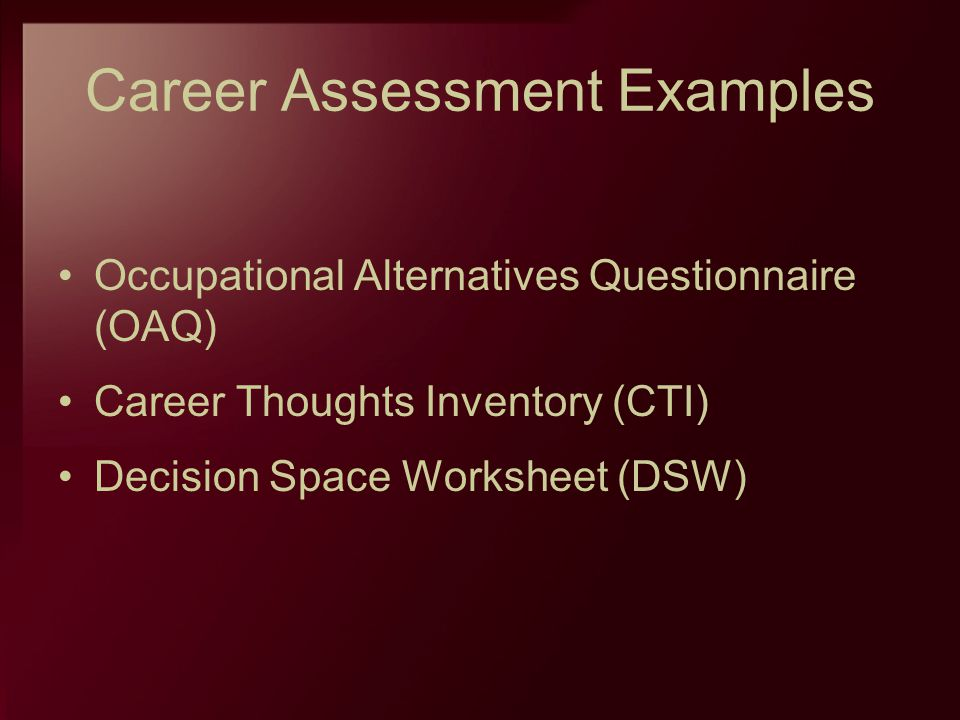 Career Assessment Examples