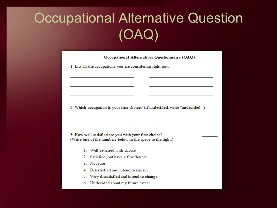 Occupational Alternative Question (OAQ)