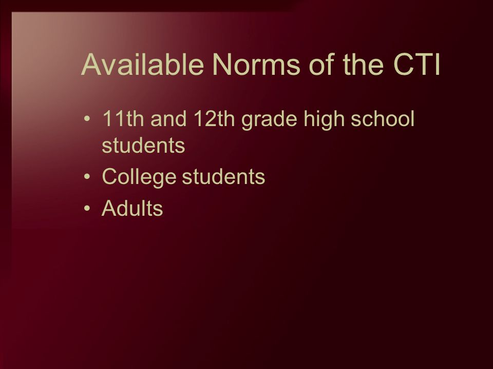 Available Norms of the CTI