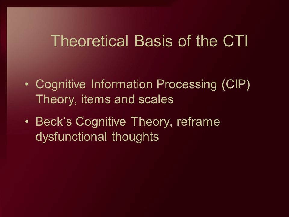 Theoretical Basis of the CTI