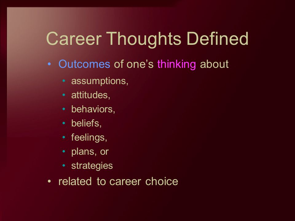 Career Thoughts Defined