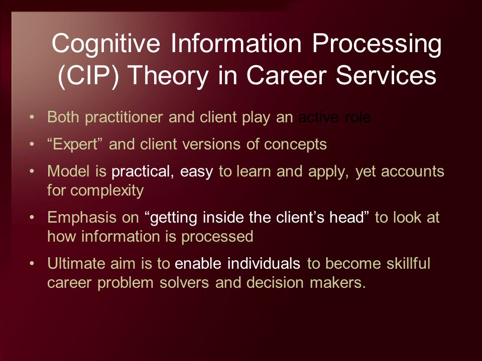 Cognitive Information Processing (CIP) Theory in Career Services
