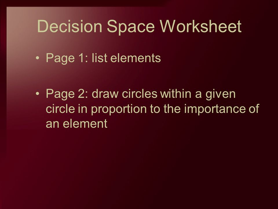 Decision Space Worksheet