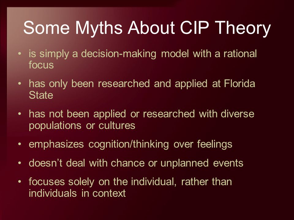 Some Myths About CIP Theory