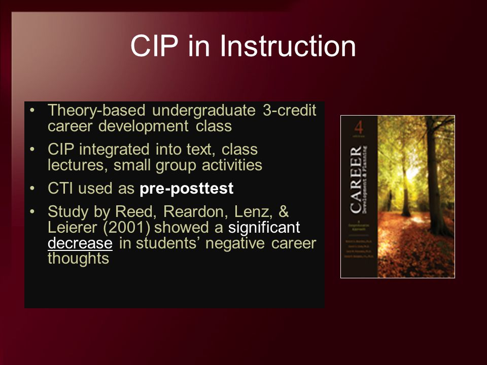 CIP in Instruction Theory-based undergraduate 3-credit career development class. CIP integrated into text, class lectures, small group activities.