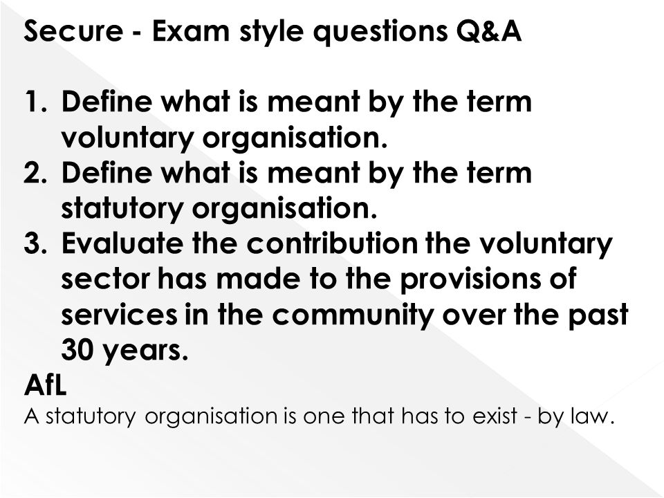 Secure - Exam style questions Q&A