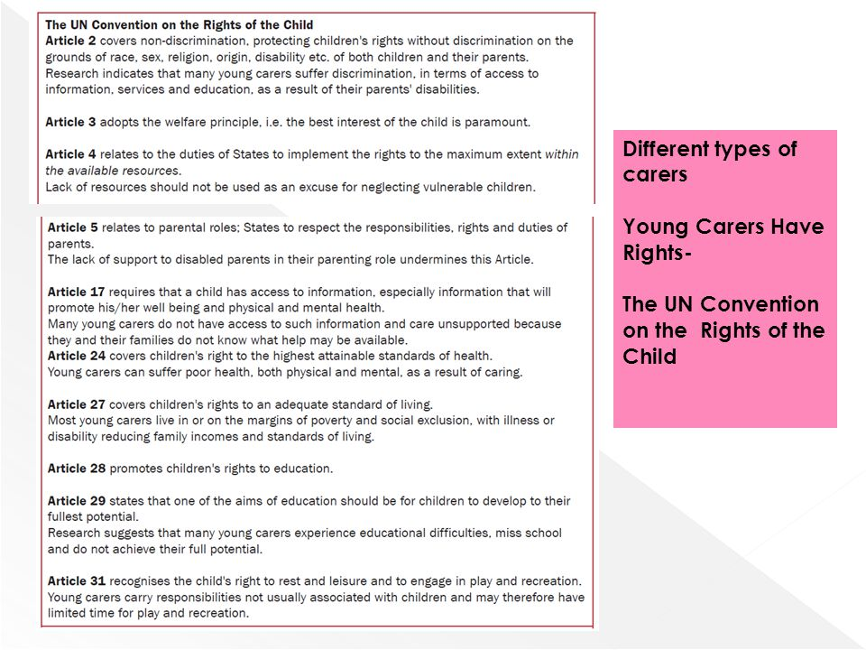 Different types of carers