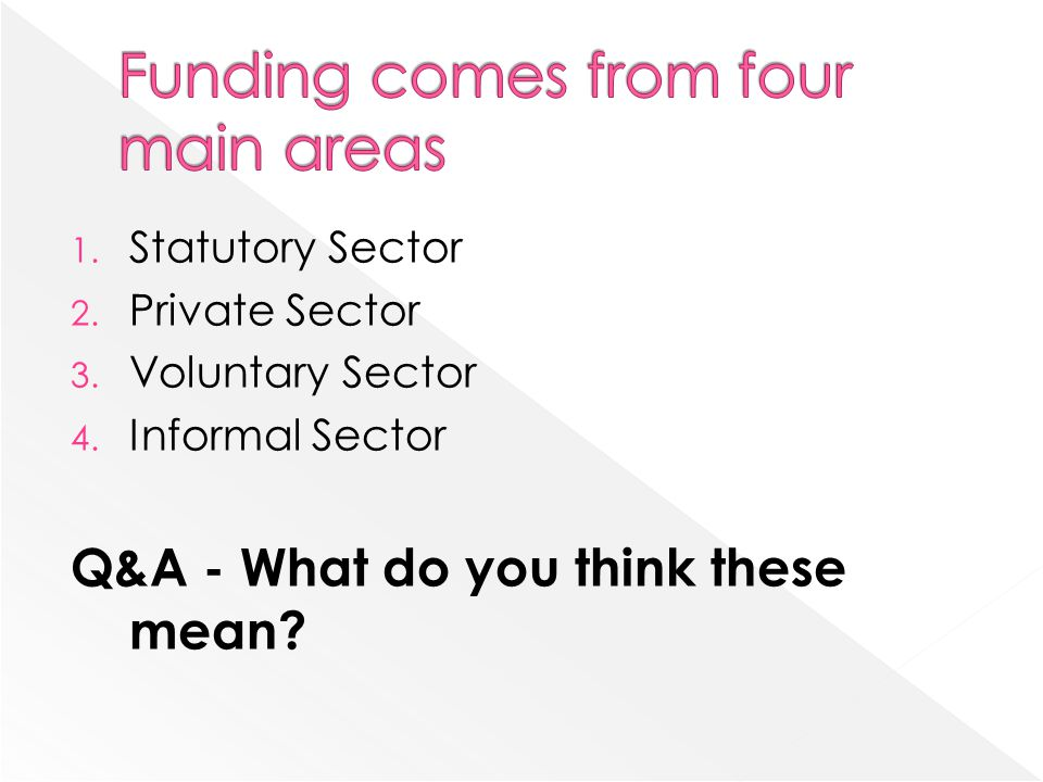 Funding comes from four main areas