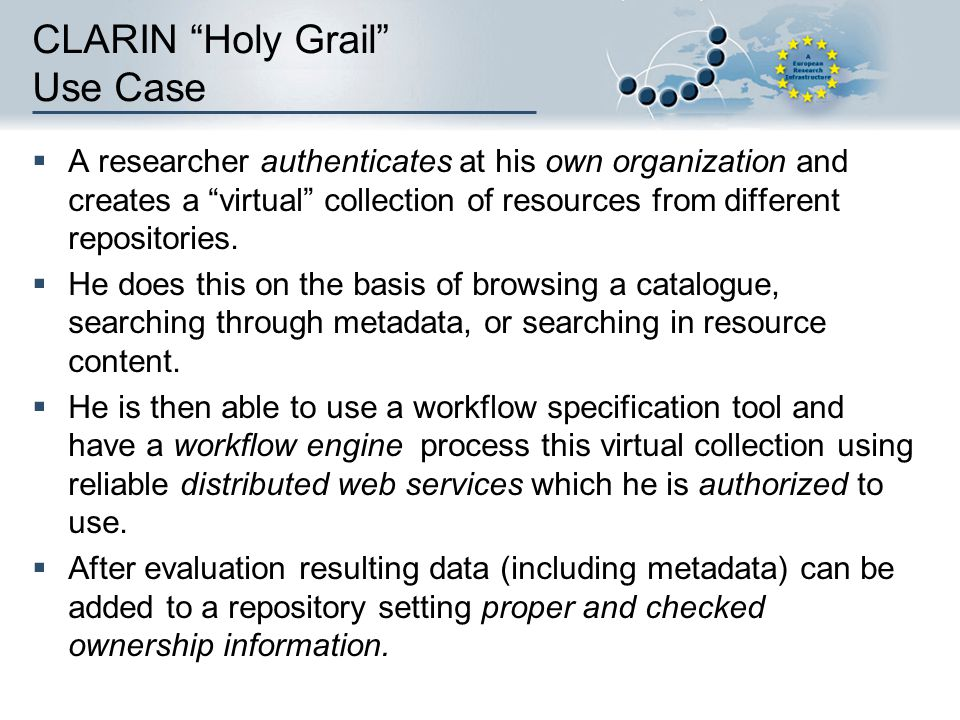 CLARIN Holy Grail Use Case