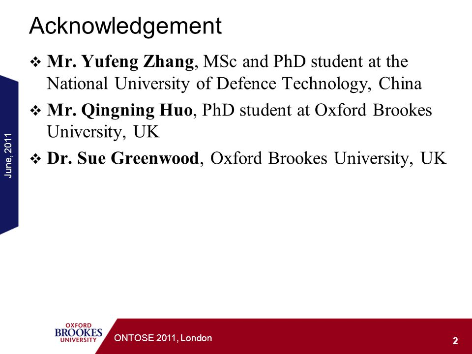 Acknowledgement Mr. Yufeng Zhang, MSc and PhD student at the National University of Defence Technology, China.