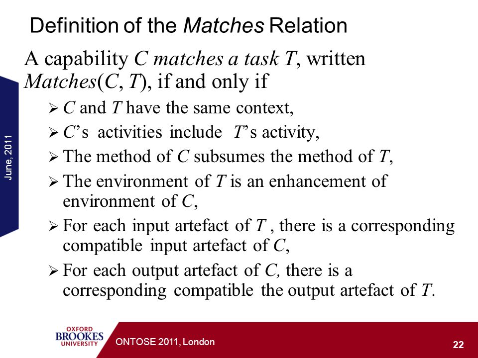 Definition of the Matches Relation