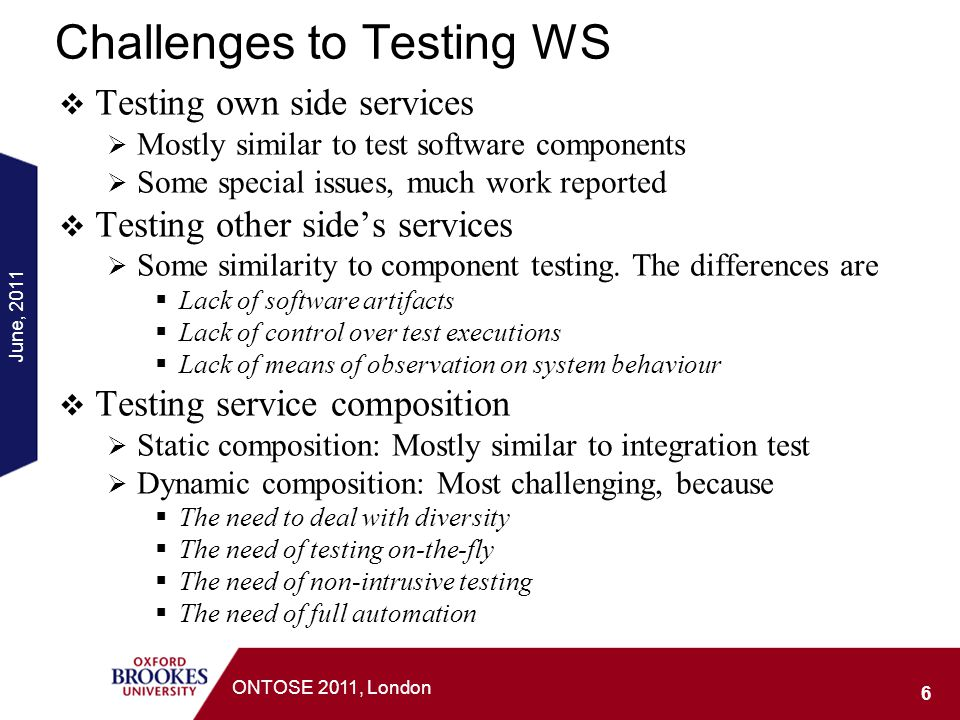 Challenges to Testing WS