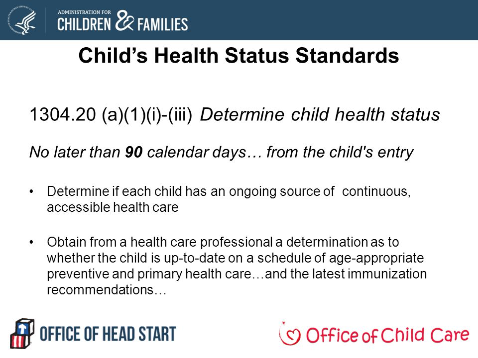 Child's Health Status Standards