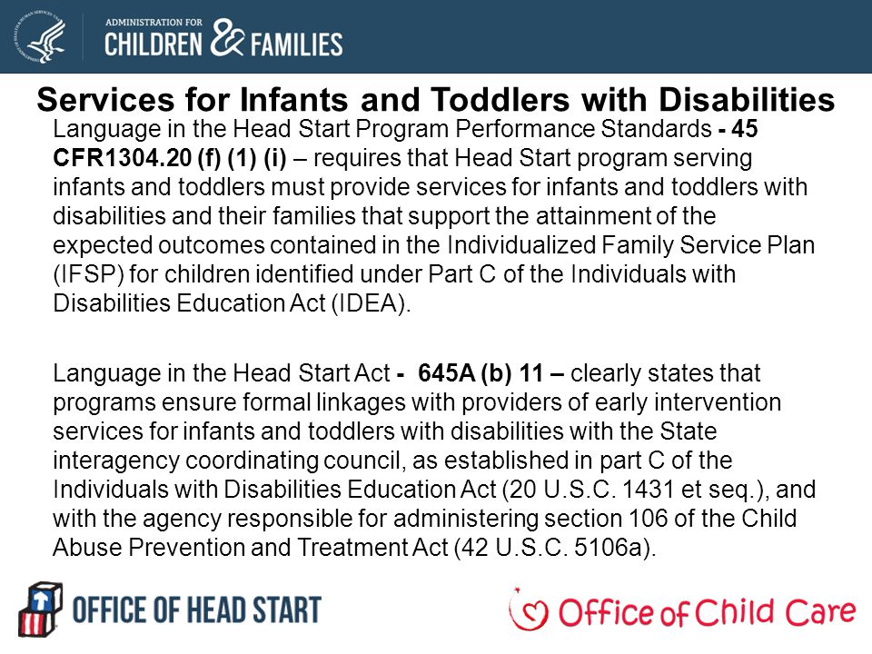 Services for Infants and Toddlers with Disabilities