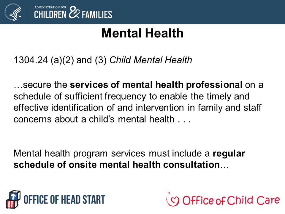 Mental Health 1304.24 (a)(2) and (3) Child Mental Health