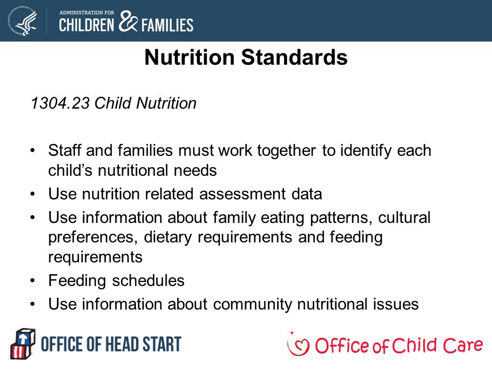 Nutrition Standards 1304.23 Child Nutrition