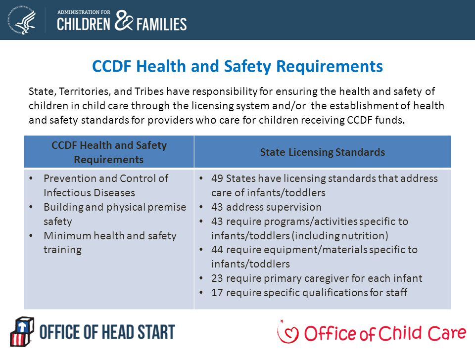 CCDF Health and Safety Requirements