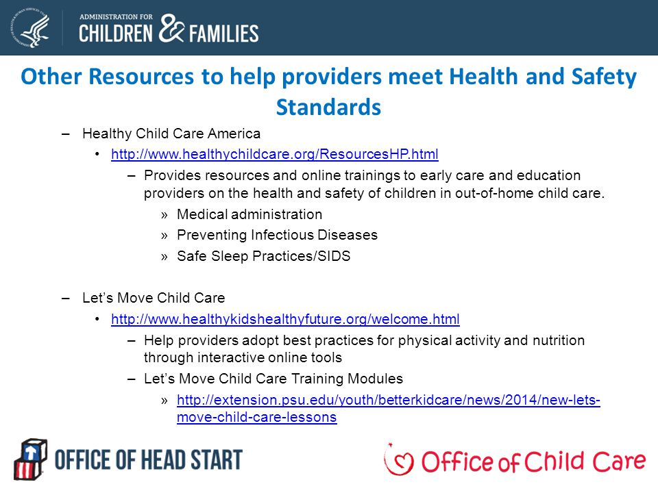 Other Resources to help providers meet Health and Safety Standards