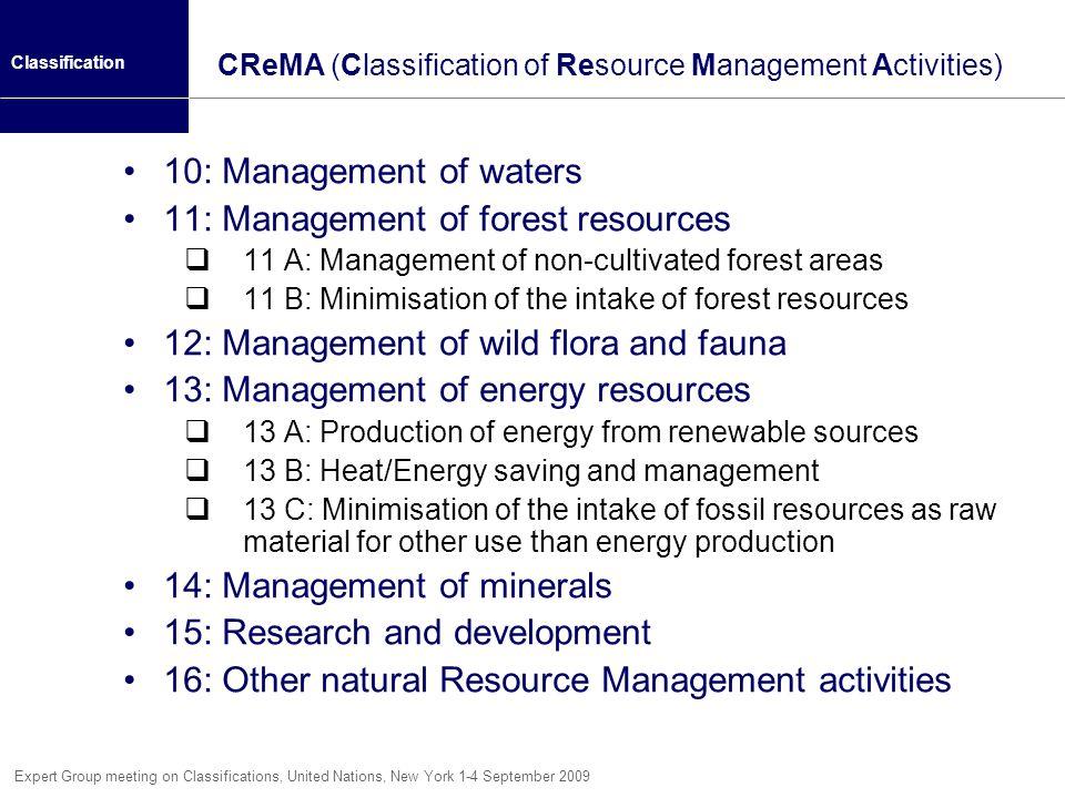 CReMA (Classification of Resource Management Activities)