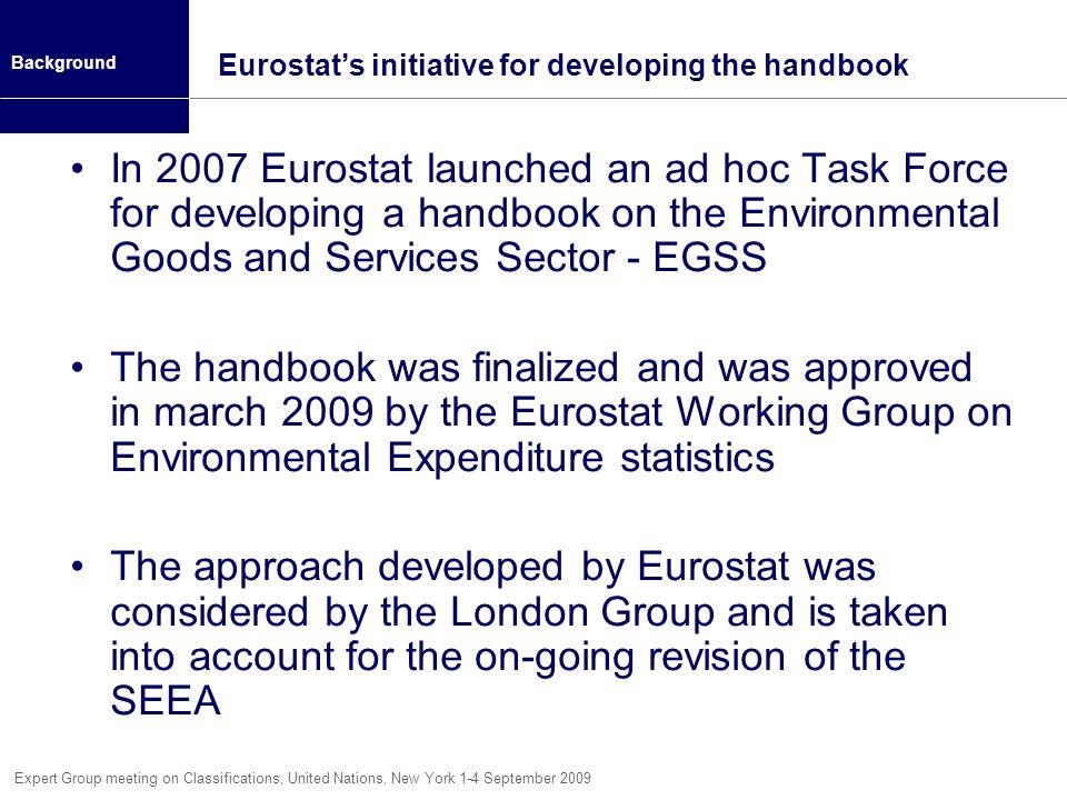 Eurostat's initiative for developing the handbook
