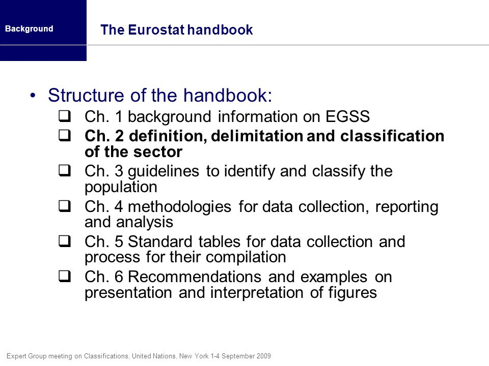 Structure of the handbook: