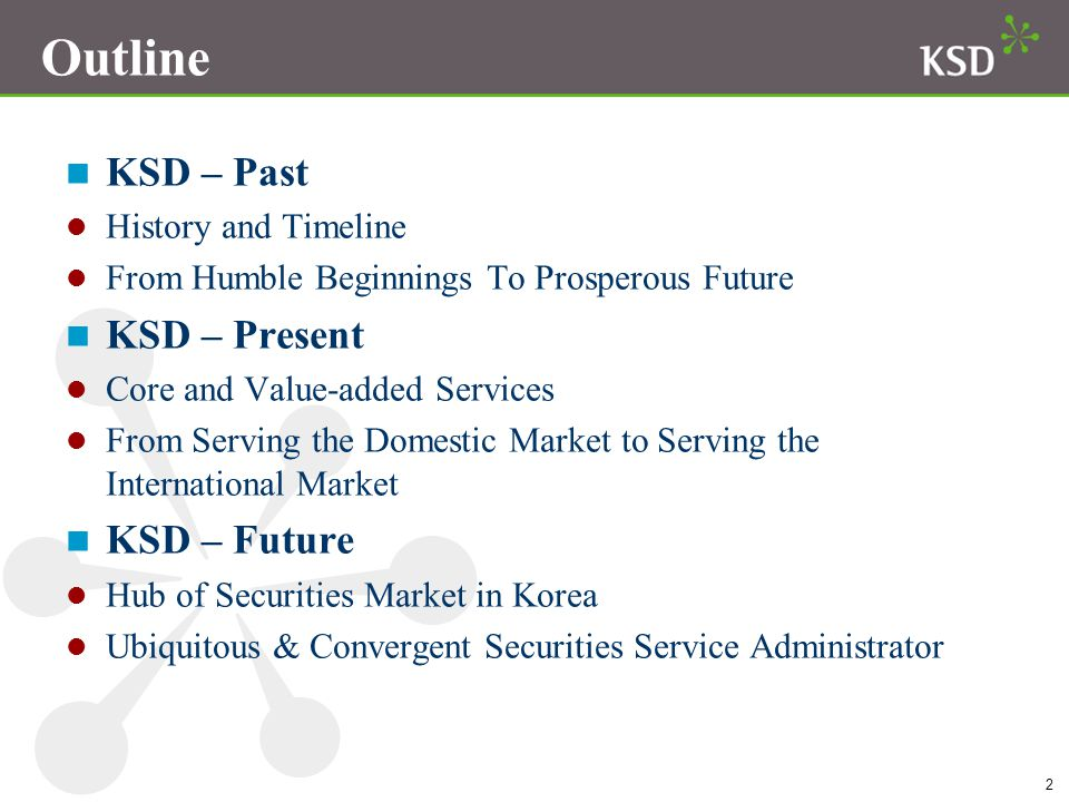 Outline KSD – Past KSD – Present KSD – Future History and Timeline