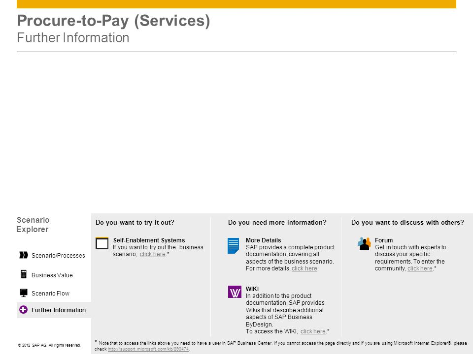 Procure-to-Pay (Services) Further Information